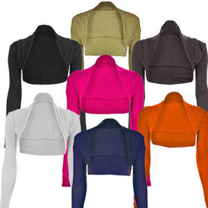 Womens Long Sleeve Plain Shrug Bolero Cropped Cardigan Top Ladies Sizes 8-16