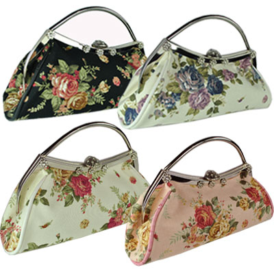 Womens Designer Floral Flower Canvas HandBag Clutch  Preview