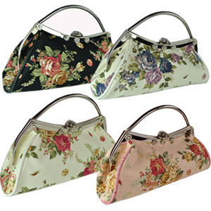 Womens Designer Floral Flower Canvas HandBag Clutch