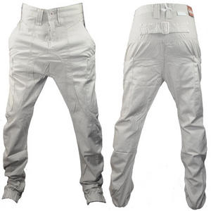 View Item Soul Star Drop Crotch Carrot Fit Chinos Trousers  Beige Mens Waist Size