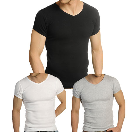 Soul Star Fitted Ribbed V-Neck T-Shirt Mens Sizes S-XL Preview