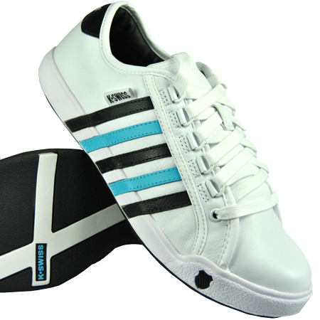K-Swiss Newport Trainers White/Black/Blue Mens Size Enlarged Preview
