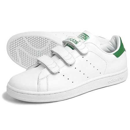 newest 1e1f4 10781 Adidas Stan Smith Velcro Trainers White Green Boys Size