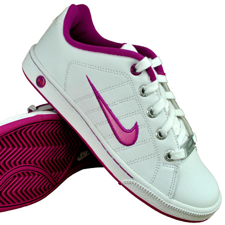 Nike Court Tradition 2 Lace Leather Trainers White/Pink Girls Size Preview
