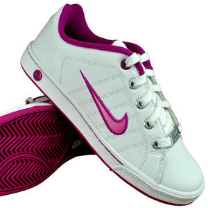 View Item Nike Court Tradition 2 Lace Leather Trainers White/Pink Girls Size