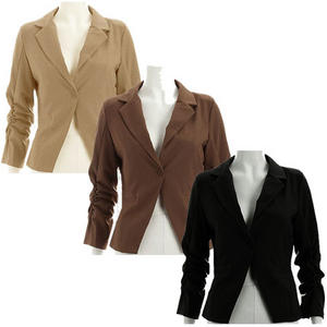 View Item Ladies Ruched Sleeve Single Button Fitted Blazer Jacket