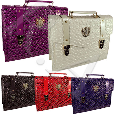 Womens 3D Heart LYDC Croc Patent Leather Messenger Laptop Shoulder Satchel Bag Preview