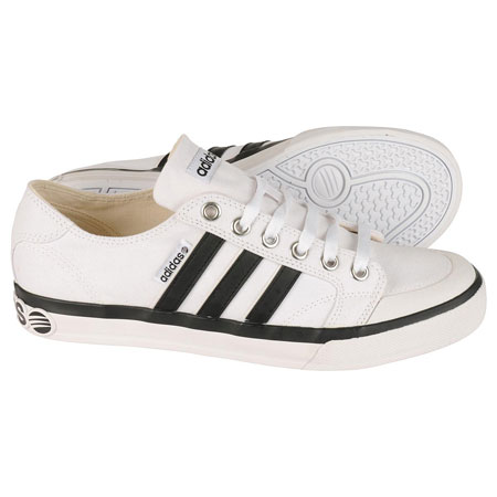Adidas Clemente Stripe Low Canvas Trainers White/Black Mens Size Preview