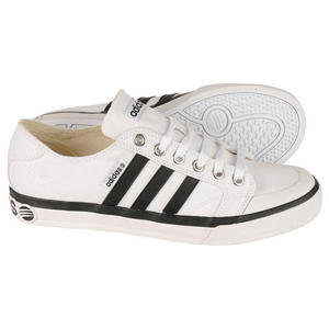 Adidas Clemente Stripe Low Canvas Trainers White/Black Mens Size
