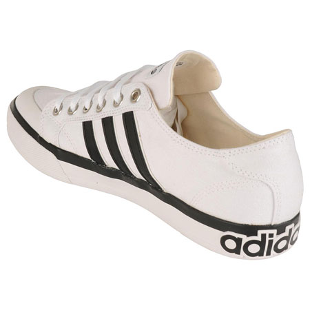 Adidas Clemente Stripe Low Canvas Trainers White/Black Mens Size UK