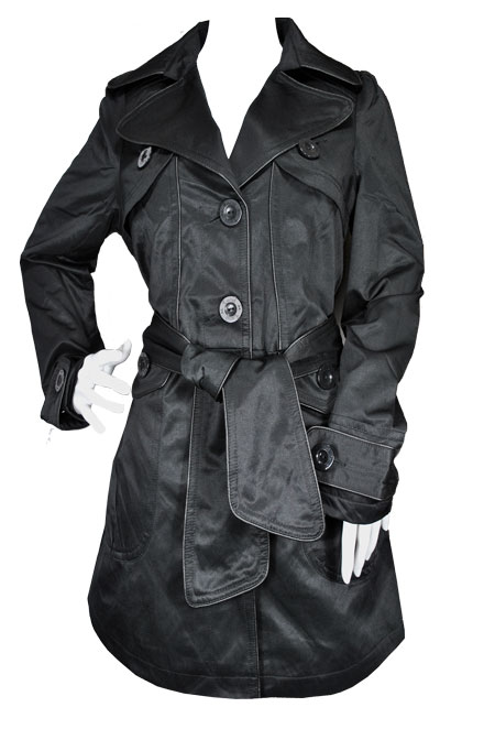 Ladies Tie Belt Piped Mac Trench Coat Jacket Black Womens Size Preview