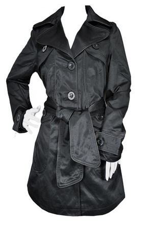 Ladies Tie Belt Piped Mac Trench Coat Jacket Black Womens Size