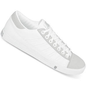 View Item K-Swiss Court PC Canvas Trainers White/Grey Mens Size