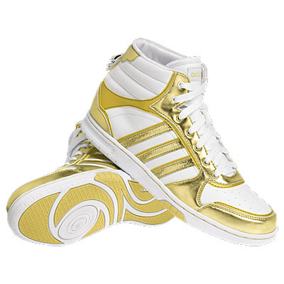 Adidas QT Slimcourt Metallic HI Trainers White/Gold Womens Size Enlarged Preview