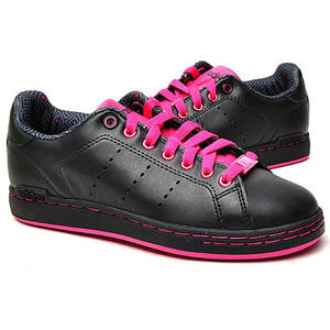 View Item Adidas Vintage Set Leather Trainers Black/Pink Womens Size