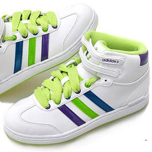 View Item Adidas WJ Mid Leather Trainers White/Lime Green Womens Size