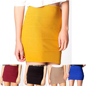 View Item Womens Ribbed Bandage Panel Bodycon Mini Skirt