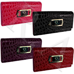 View Item Bi-Fold Womens LYDC Patent Croc Long Leather Purse Clutch