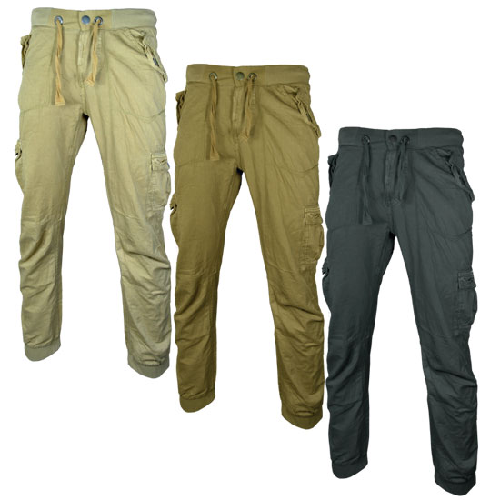 55Soul Iniesta Cuffed Cargo Combat Pants Trousers Mens Waist Size Preview