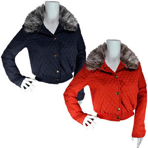 View Item Vintage Suede Patch Cropped Winter Fur Collar Quilted Jacket Womens Size 8-16