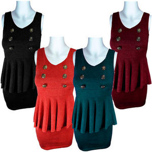 View Item Womens Knitted Nautical/Military Engraved Button Tulip Peplum Dress Ladies Size