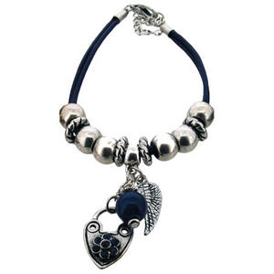 Womens Leather Wing & Heart Charm Bead Bracelet Navy Blue Silver