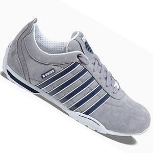 View Item K-Swiss Arvee 1.5 Low Leather Trainers Grey/Navy/White Mens Size