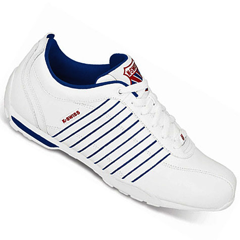 k swiss arvee 1 5 low leather trainers white blue red mens. Black Bedroom Furniture Sets. Home Design Ideas