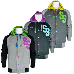 View Item Soul Star Buttons SS Lettermen Baseball Hooded Fleece Jacket Mens Size