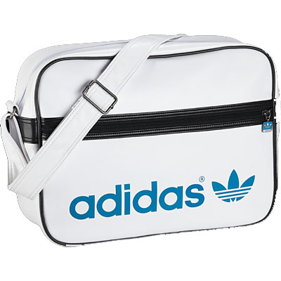 Shoulder Messenger Bags on Adidas Adicolor Airlin Messenger Shoulder Bag White Sharp Blue Mens