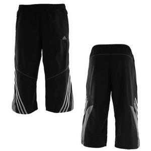 View Item Adidas 3Stripe 3/4 Pants Shorts Black/Lead-Grey Mens Size