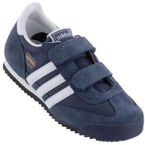 Adidas Originals Dragon K Velcro Trainers Navy-Blue/White Junior Boys Size