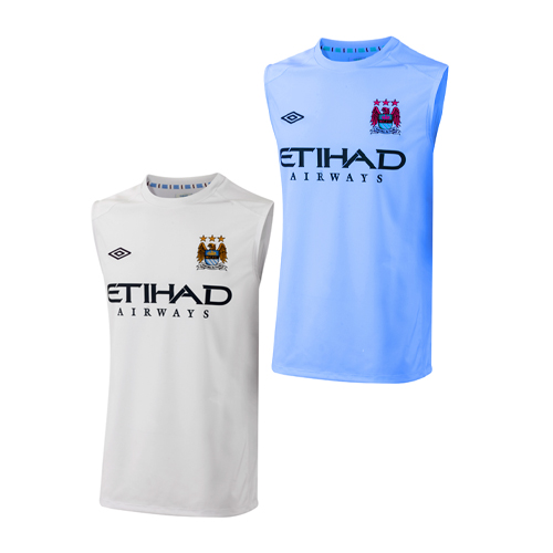 Manchester City FC Sleeveless Training Vest Soccer Top Junior Boys Size Enlarged Preview