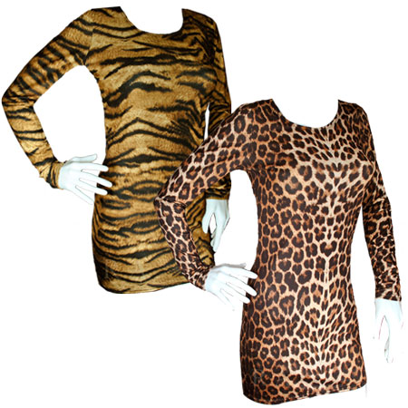 Animal Tiger/Leopard Print Bodycon Mini Dress Long Sleeve Top Womens Size 8-14 Preview