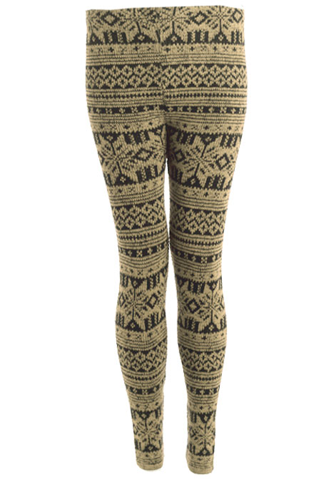 Winter Snowflake Print Womens Thick Knitted Fairisle Leggings ...
