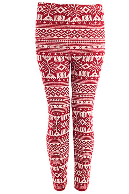 Winter-Snowflake-Print-Womens-Thick-Knitted-Fairisle-Leggings-Footless-Tights