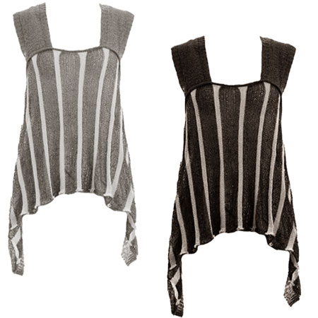 Knitted Stripey Swing Hanky Hem Womens Vest Top Size 8-14 Preview