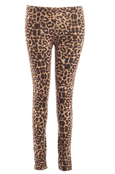 Leopard-Wild-Animal-Print-Brown-Black-Leggings-Womens-Size-8-12