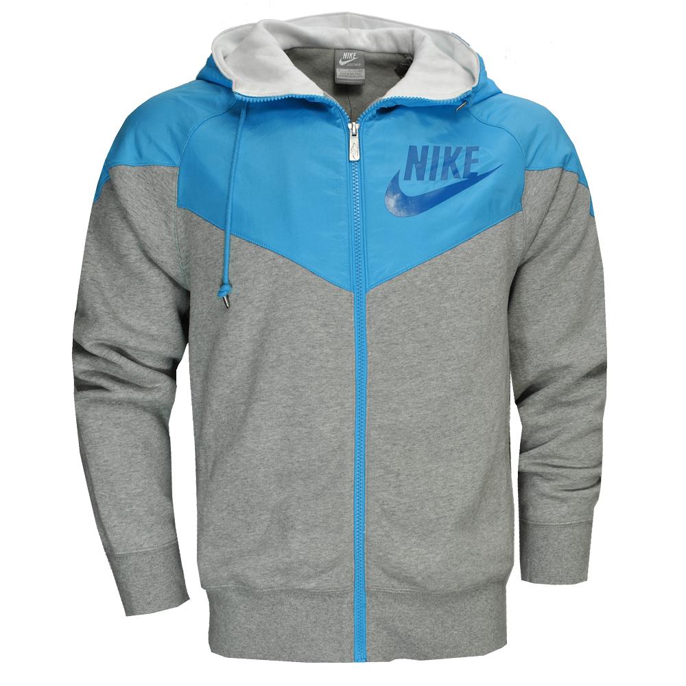 nike fleece full zip hooded jacket grey blue mens size ebay. Black Bedroom Furniture Sets. Home Design Ideas