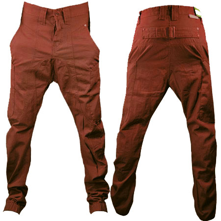 Soul Star Drop Crotch Carrot Fit Cuffed Chinos Trousers Rust Brown Mens Size Preview