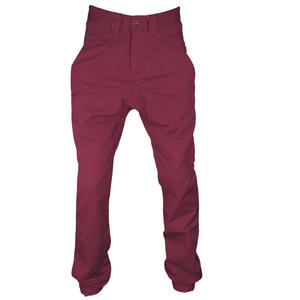 Soulstar Drop Crotch Carrot Fit Cuffed Chinos Trousers Plum Red Mens Size