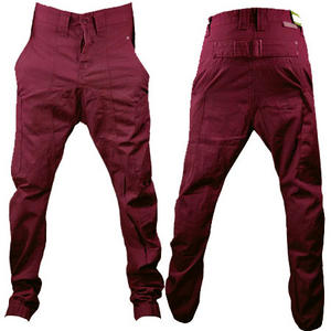 Soul Star Drop Crotch Carrot Fit Cuffed Chinos Trousers Burgundy Red Mens Size