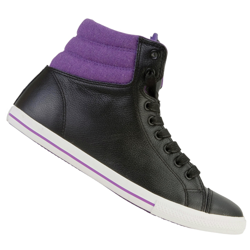 Converse CT Padded Collar Slim Mid Leather Trainers Black/Purple Womens Size Preview