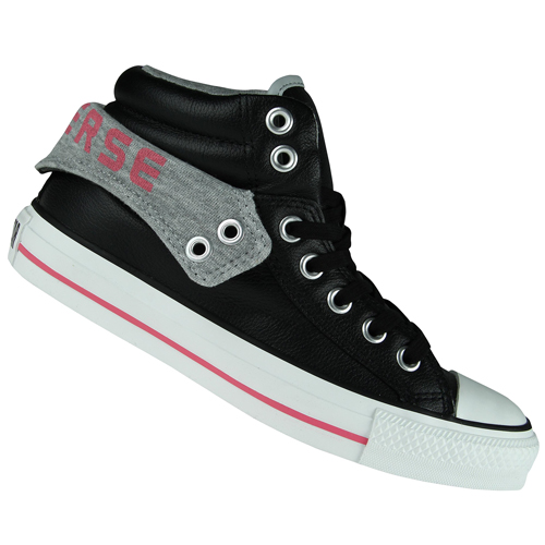 Converse CT Padded Collar 2 Mid Leather Trainers Black/Grey/Pink Womens Size Preview