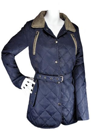 View Item Quilted Padded Tweed Patch Collared Blue Coat/Jacket Womens Size 8-14