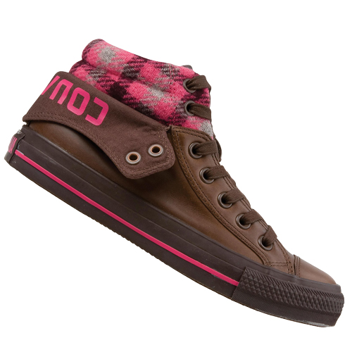 Converse CT AS Padded Collar 2 Mid Leather Trainers Choc Brown Womens Size Preview