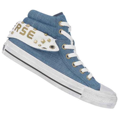 Converse CT Padded Collar 2 Mid Canvas Trainers Denim-Blue/White Womens Size Preview