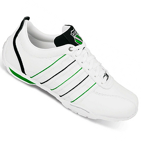 k swiss arvee 1 5 low leather trainers white black green. Black Bedroom Furniture Sets. Home Design Ideas