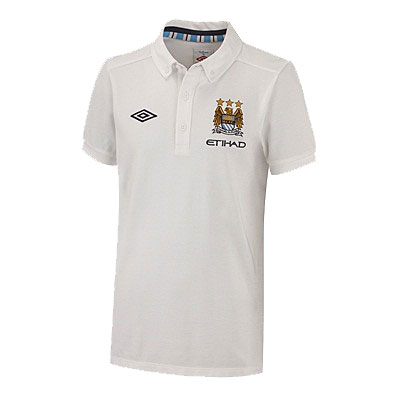Manchester City Match Media Polo Shirt White Junior Boys Size