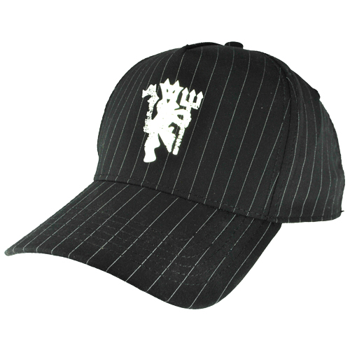 Manchester United FC Devil Pin Stripe Baseball Cap Black/Silver Mens One Size Preview
